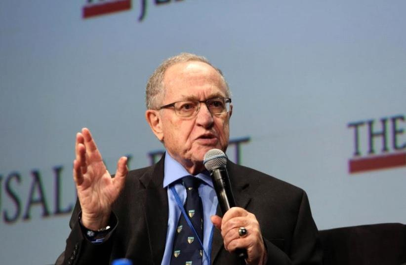Alan Dershowitz at the Jerusalem Post Conference in New York, May 7, 2017 (photo credit: SIVAN FARAG)