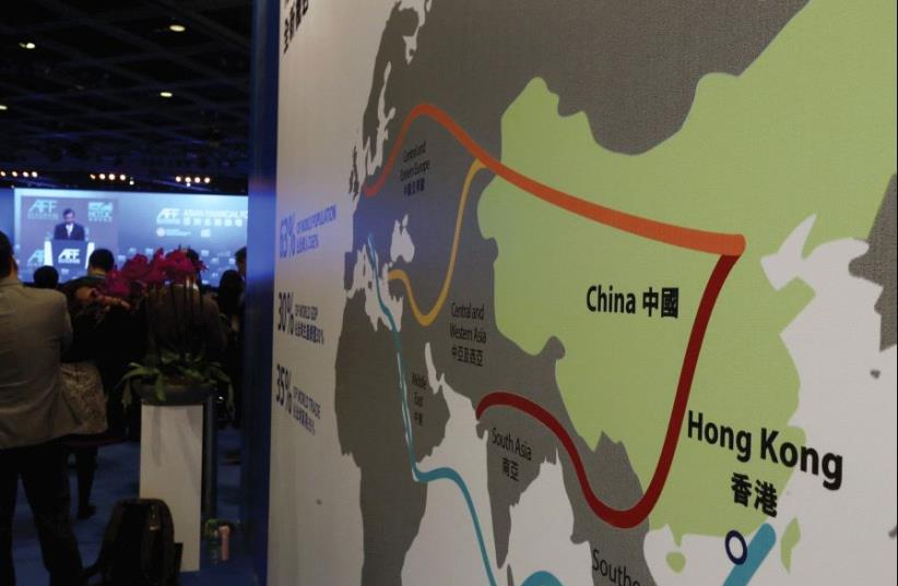 THIS MAP illustrates China's 'New Silk Road' initiative (photo credit: REUTERS)