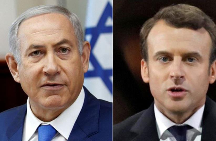 PM Netanyahu and French President Macron (photo credit: REUTERS)
