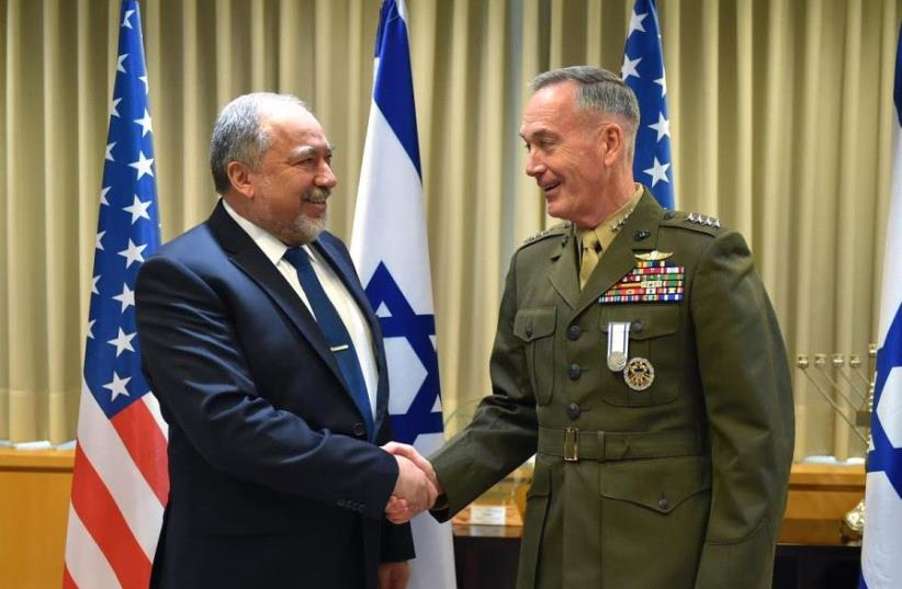 Defense Minister Avigdor Liberman meets with US Army General Joseph Dunford, Chairman of the Joint Chiefs of Staff, in Jerusalem, May 9, 2017 (photo credit: ARIEL HERMONI / DEFENSE MINISTRY)