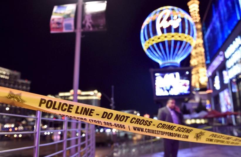 Police tape in Las Vegas [Illustrative] (photo credit: REUTERS)