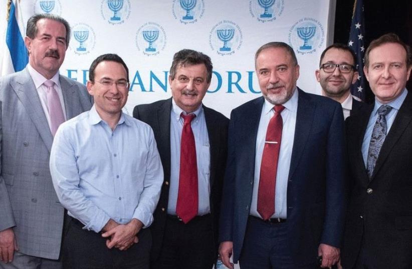 THE LEADERSHIP of the American Forum for Israel with Defense Minister Avigdor Liberman. From right to left: Dr. Igor Branovan, Eugene Lekakh, Liberman, Dr. Dmitry Shiglik, Leonard Petlakh and Alex Rovt (photo credit: Courtesy)