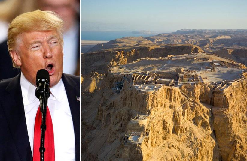 Trump and Masada (photo credit: REUTERS,ANDREW SHIVA / WIKIPEDIA)