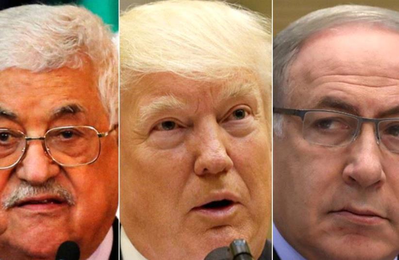 Abbas, Trump, Netanyahu (photo credit: REUTERS)
