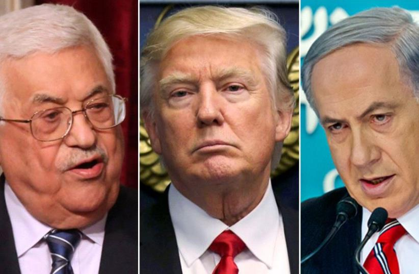 Abbas, Trump, Netanyahu (photo credit: REUTERS)