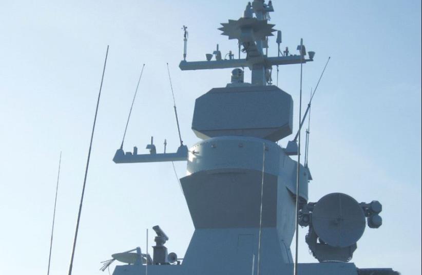 ALPHA RADAR is seen on an Israel Navy Sa'ar-4.5 missile ship (photo credit: IAI)