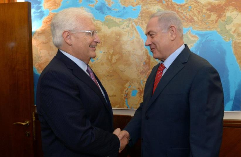 Prime Minister Benjamin Netanyahu meets with US Ambassador to Israel David Friedman. (photo credit: HAIM ZACH/GPO)