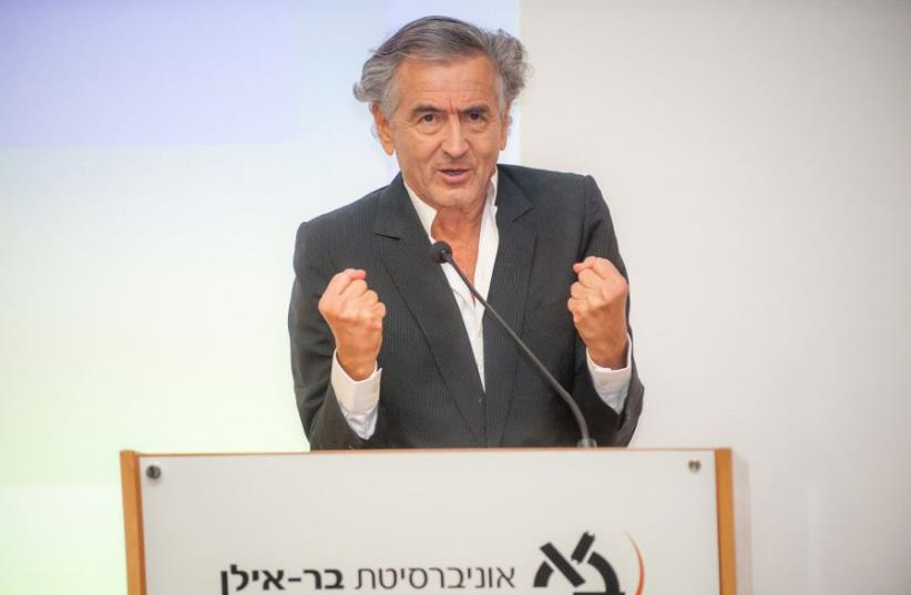 French Jewish philosopher Bernard-Henri Lévy speaking at Bar-Ilan University (photo credit: CHEN DAMARI)
