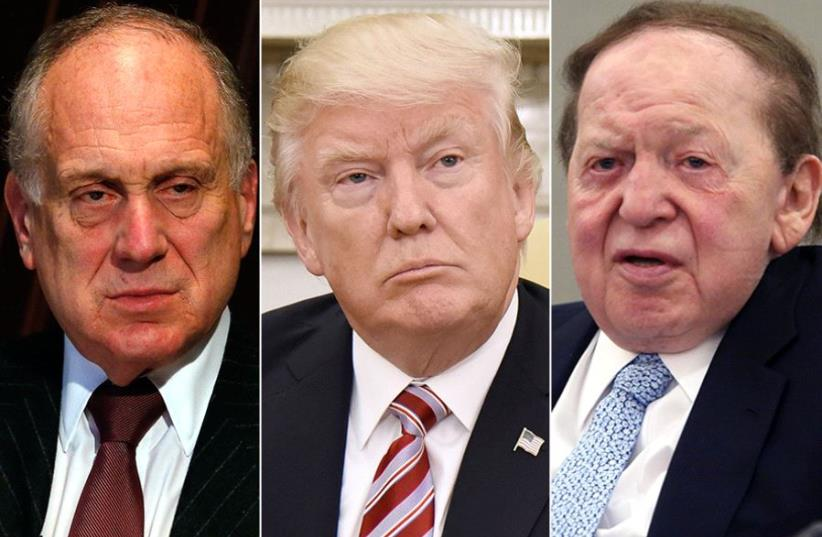 Lauder Trump and Adelson (photo credit: OLIVIER DOULIERY / AFP / REUTERS)