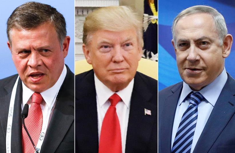 King Abdullah, Trump and Netanyahu (photo credit: REUTERS)