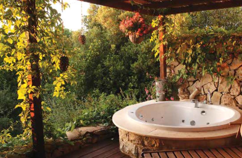 The garden of a room in a Tamar & Gefen Tzimmer (photo credit: DAVID BRUMMER)