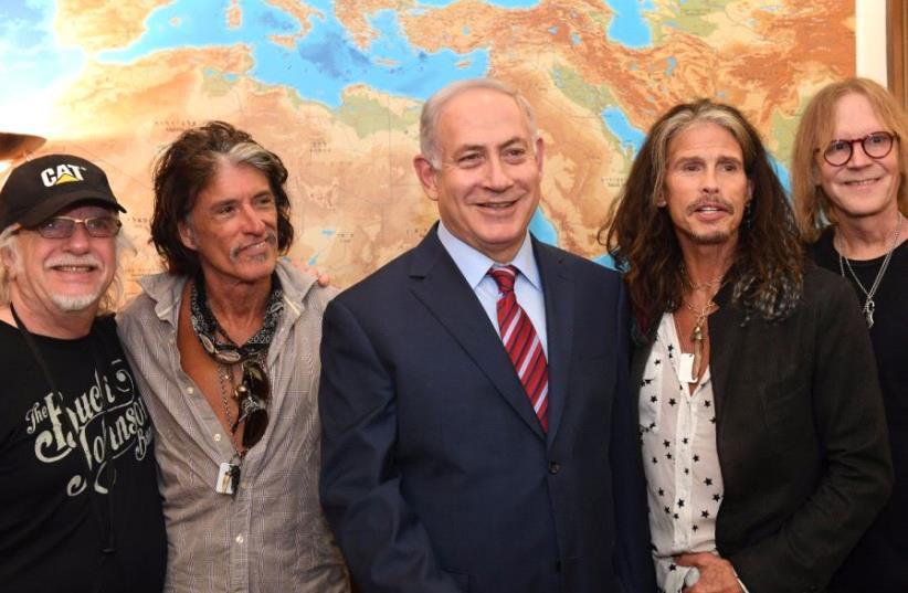 Prime Minister Benjamin Netanyahu met with Aerosmith 27 May 2017. (photo credit: KOBI GIDEON/PMO)