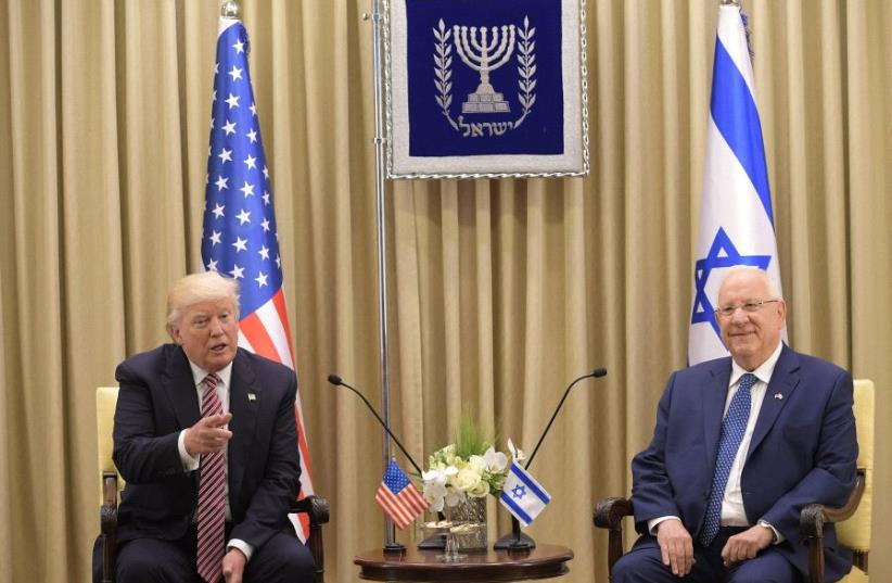 US President Donald Trump meets with Israel's President Reuven Rivlin at the President's Residence in Jerusalem on May 22, 2017 (photo credit: MANDEL NGAN / AFP)