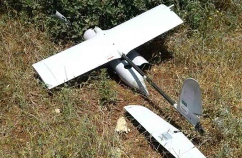 "Israeli ""Skylark"" drone crash site inIsraeli ""Skylark"" drone crash site in Lebanon, May 2017. (photo credit: ARAB MEDIA)"