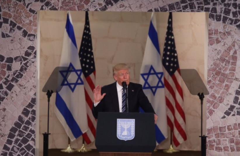 US President Donald Trump gives speech at Israel Museum (photo credit: MARC ISRAEL SELLEM)