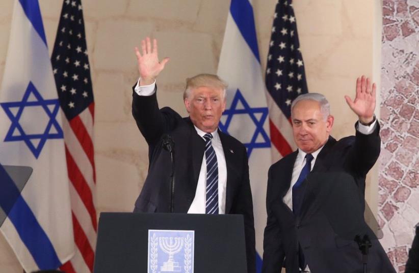 US President Donald Trump and Prime Minister Benjamin Netanyahu at the Israel Museum (photo credit: MARC ISRAEL SELLEM)