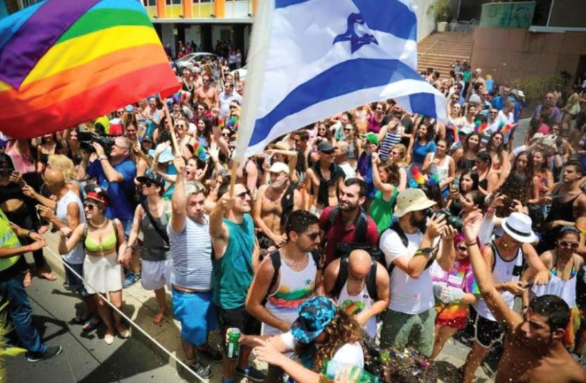Revelers at Tel Aviv's 2016 LBGTQ Pride Parade (photo credit: GUY YECHIELI)