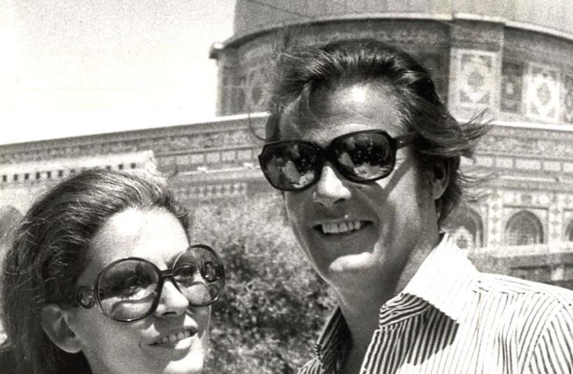 ROGER MOORE and his third wife, Luisa Mattioli, visit the Dome of the Rock in Jerusalem in 1972 (photo credit: K. WEISS)