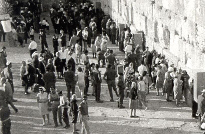 Israelis visit the Western Wall in 1967 after its opening to the public following the Six Day War (photo credit: R. M. KNELLER/JERUSALEM POST ARCHIVES)