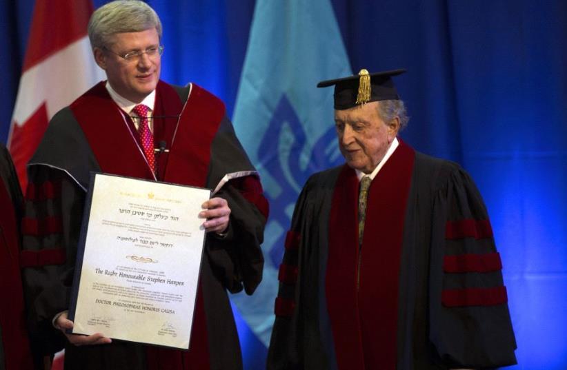 Canada's Prime Minister Stephen Harper stands next to David Azrieli  (photo credit: REUTERS)