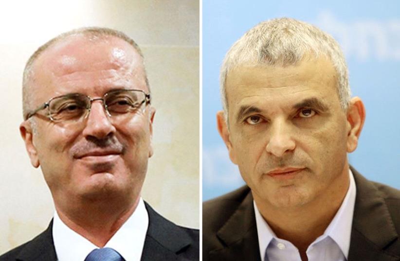 Hamdallah and Kahlon (photo credit: MARC ISRAEL SELLEM,REUTERS)