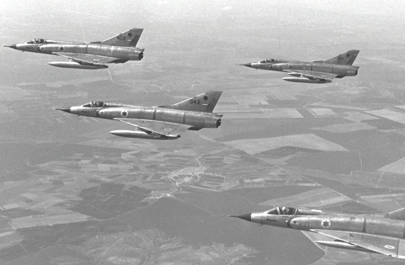 ISRAEL AIR FORCE Mirage fighter jets train over Israel in 1967 before the Six Day War. (photo credit: GPO)
