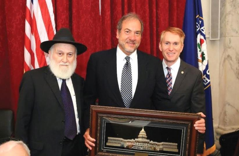 FROM LEFT: Rabbi Hillel Zaltzman, Rabbi Yechiel Eckstein and Sen. James Lankford. (photo credit: DOV AND SHMUEL LENCHEVSKY)