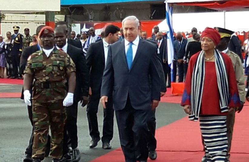 PM Netanyahu in Liberia (photo credit: HERB KEINON)