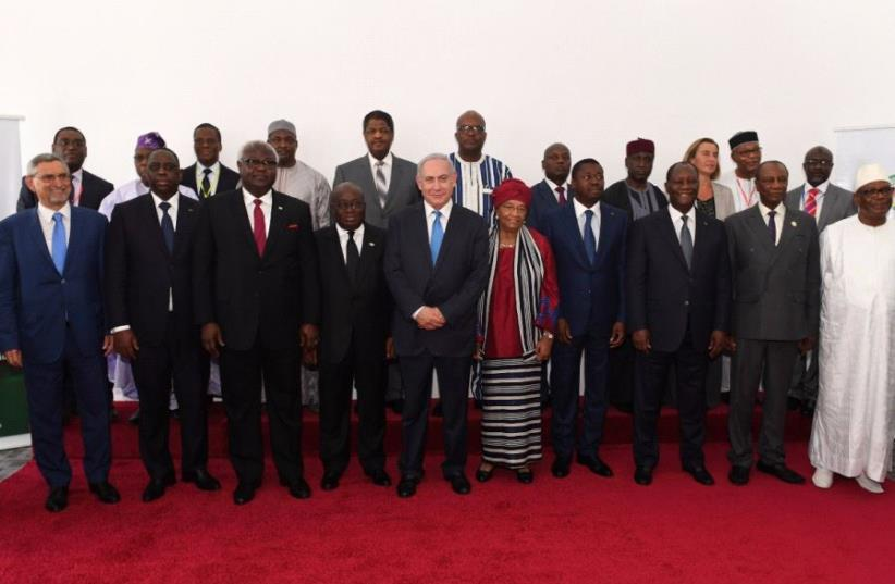 Prime Minister Benjamin Netanyahu with African leaders in Liberia pm June 4, 2017 (photo credit: KOBI GIDEON/GPO)