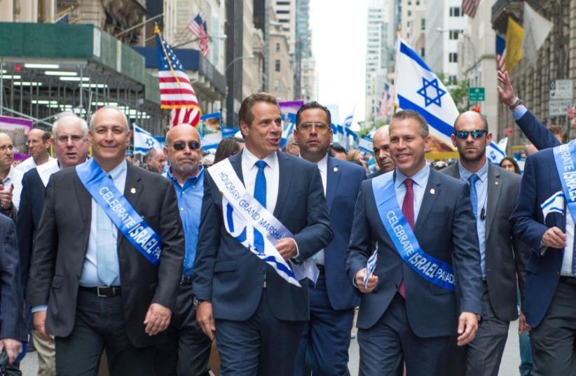 NY Governor Cuomo, Minister Gilad Erdan and Nehemia Peres at the Israel Day Parade 2017 (photo credit: ALEXI ROSENFELD)