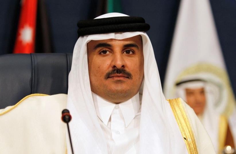 Emir of Qatar Sheikh Tamim bin Hamad al-Thani attends the 25th Arab Summit in Kuwait City (photo credit: REUTERS)