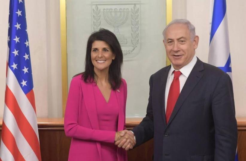 L'ambassadrice américaine à l'ONU Nikki Haley rencontre le Premier ministre Benjamin Netanyahu à Jérusalem (crédit photo : AMOS BEN GERSHOM, GPO)