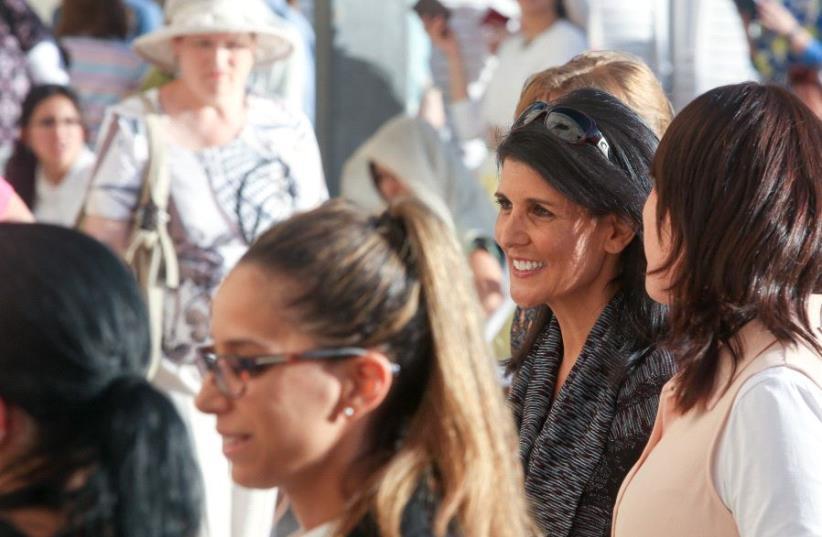 Nikki Haley at the Western Wall  (photo credit: MARC ISRAEL SELLEM)