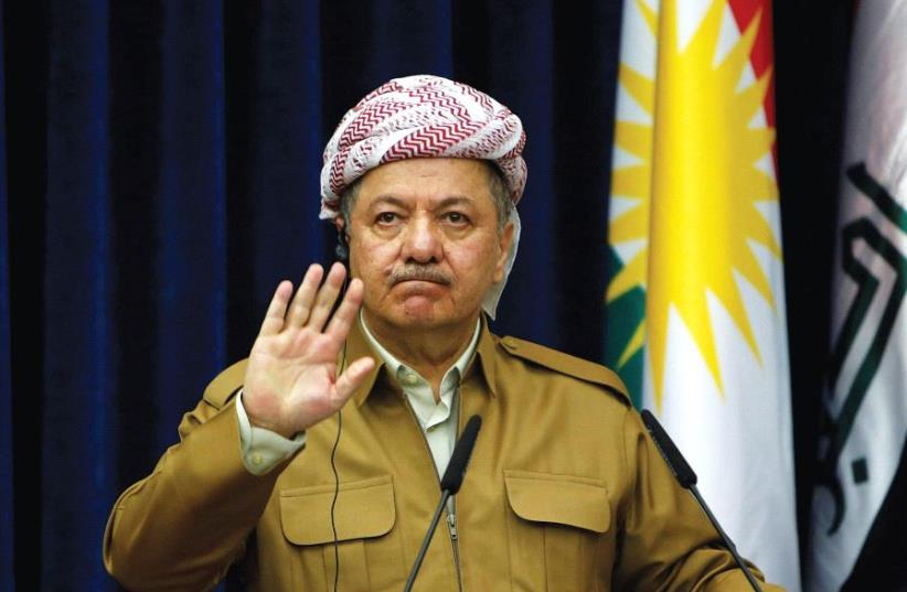 KURDISTAN REGIONAL Government President Masoud Barzani gestures during a news conference in Erbil, Iraq, in April.  (photo credit: AZAD LASHKARI / REUTERS)