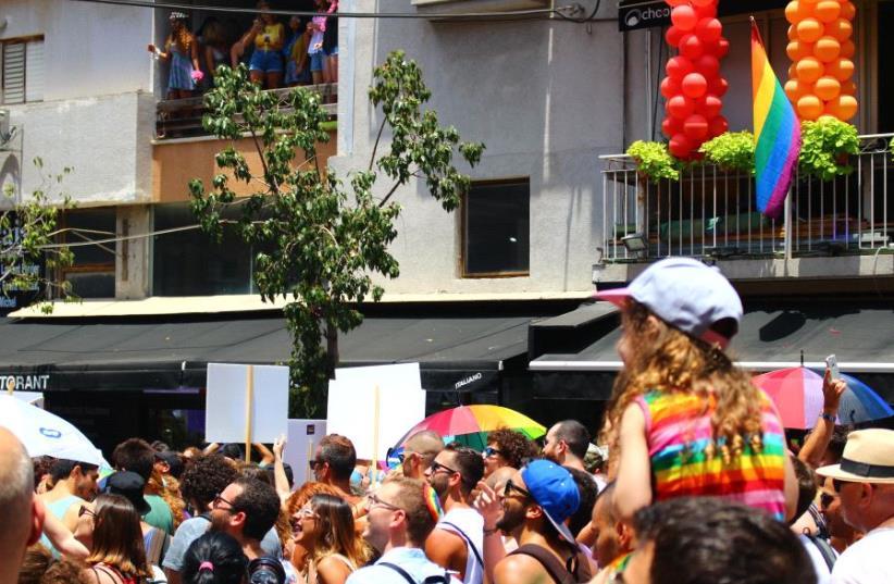 Tel Aviv Pride participants enjoying the celebrations, June 9 2017. (photo credit: Courtesy)
