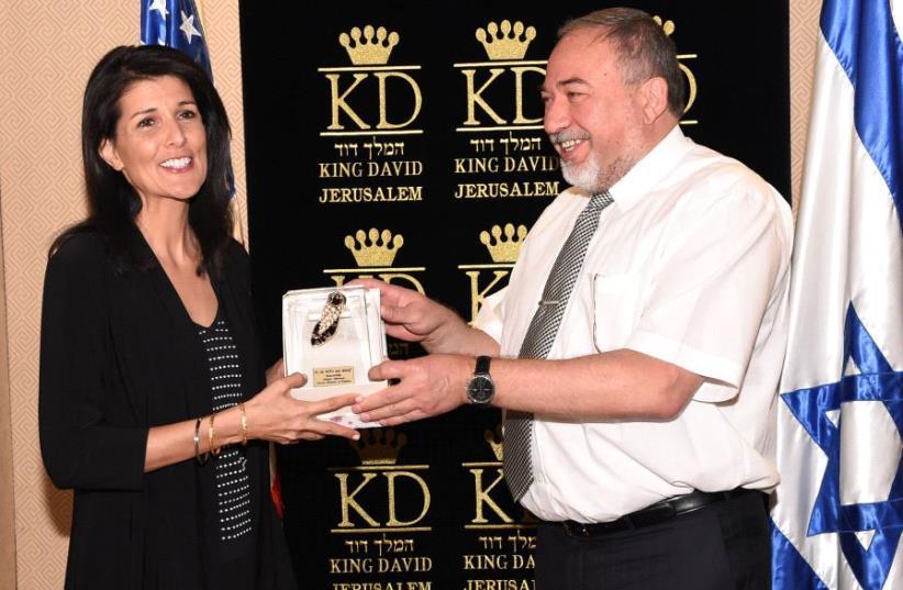 US envoy to the UN Nikki Haley with Israeli Defense Minister Avigdor Liberman. (photo credit: DANA SARGA/MINISTRY OF DEFENSE)