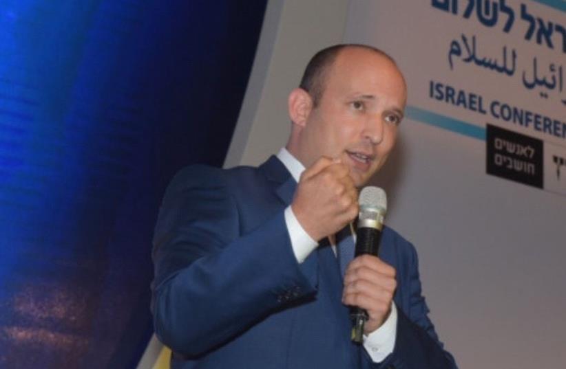 Naftali Bennet at Haaretz Peace Conference (photo credit: AVSHALOM SASSONI/MAARIV)