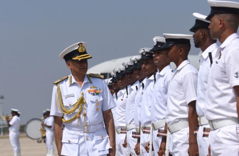 Indian Chief of Naval Staff Admiral Sunil Lanba (photo credit: ARUN SANKAR / AFP)