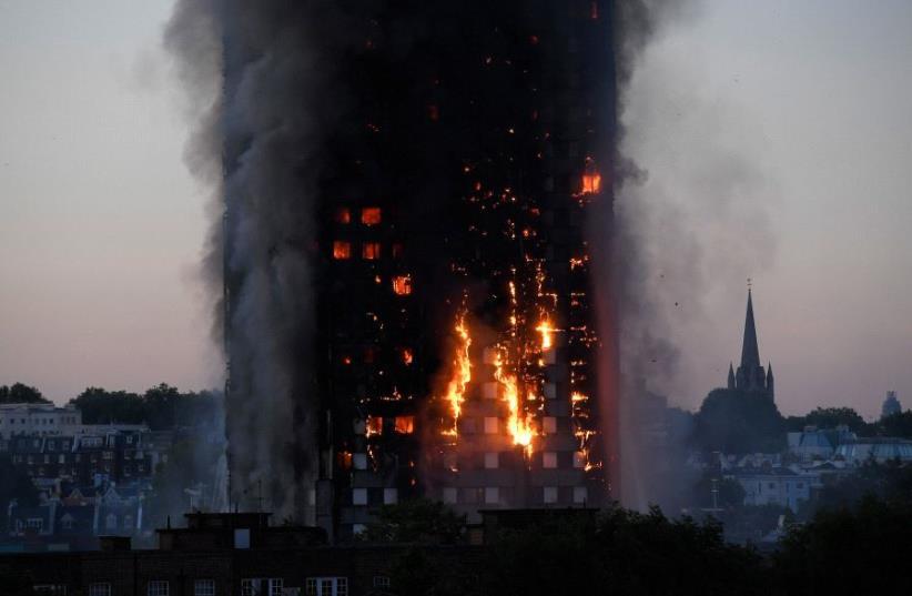 Major blaze erupts in central London tower block (photo credit: REUTERS)