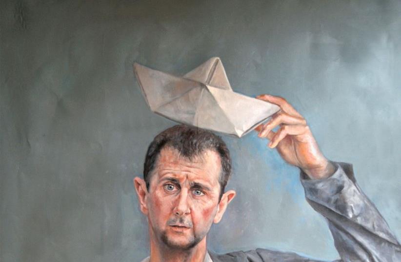 Syrian President Bashar Assad depicted as a refugee (photo credit: ABDALLA AL OMARI)