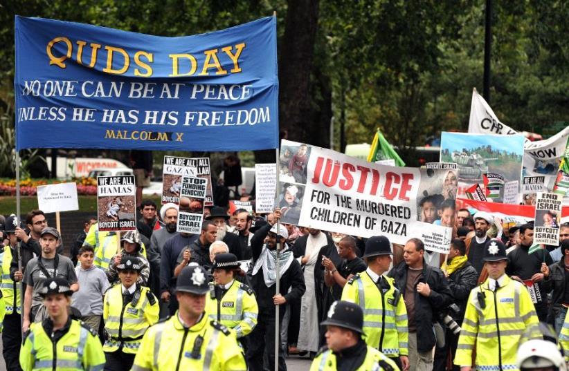 An Al Quds demonstration against Israel, marches through London on September 13, 2009 (photo credit: CARL DE SOUZA/AFP)