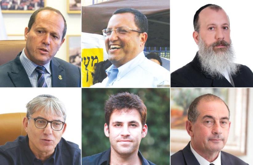 Nir Barkat, Moshe Lion, Yossi Daitch, Meir Turgeman, Ofer Berkowitz and Yossi Havilio (photo credit: MARC ISRAEL SELLEM,PR)