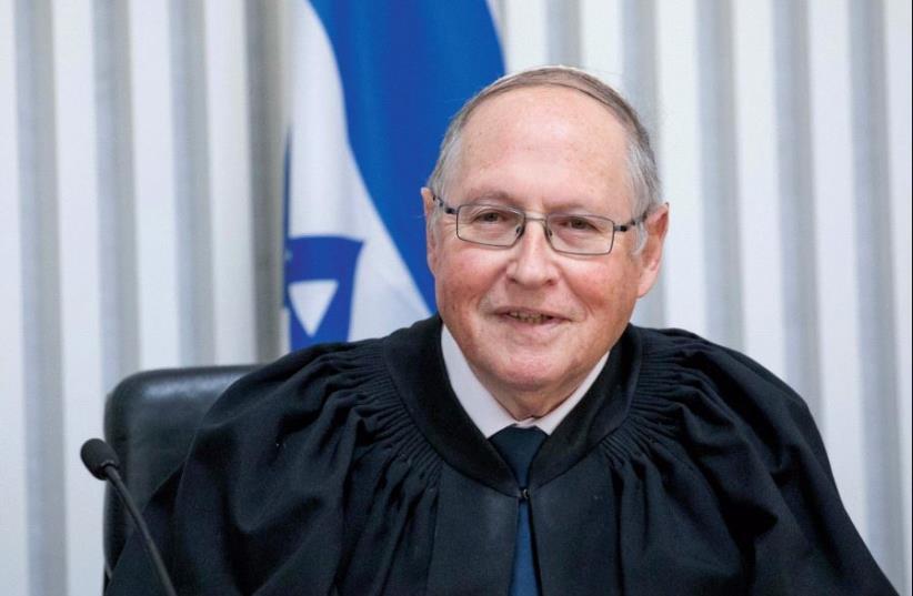 JUSTICE ELYAKIM RUBINSTEIN at his retirement ceremony at the High Court in Jerusalem (photo credit: YONATAN SINDEL/FLASH 90)