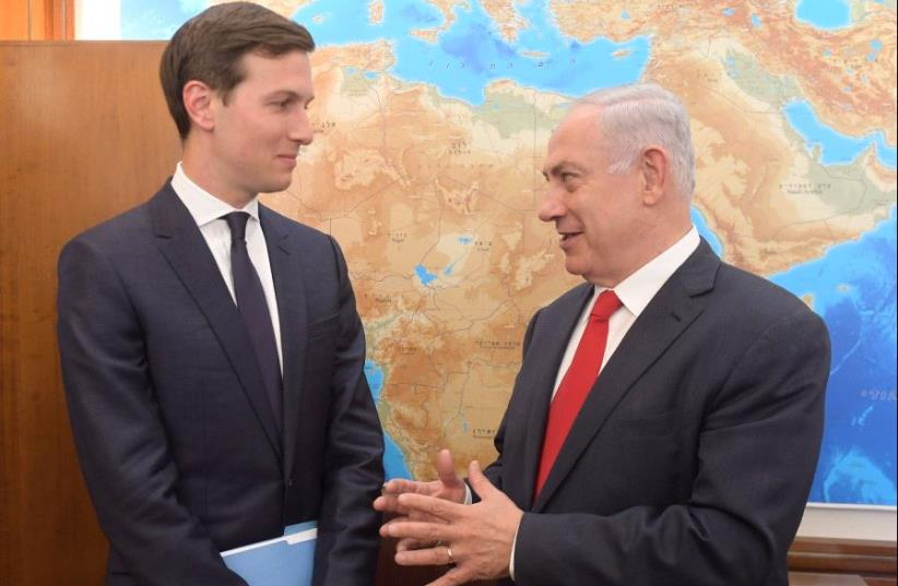 Jared Kushner meets Prime Minister Benjamin Netanyahu, June 21 2017. (photo credit: AMOS BEN GERSHOM, GPO)