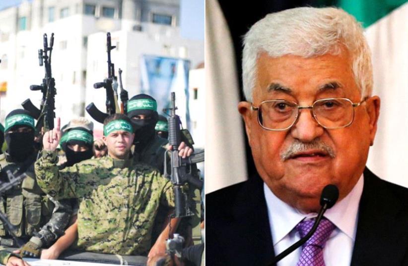 Hamas members and Abbas (photo credit: REUTERS)