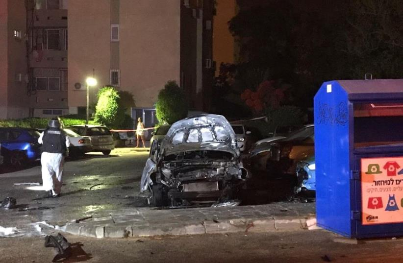 Scene of the crime in Ashkelon where a mob official was killed in a car bombing (photo credit: COURTESY ISRAEL POLICE)