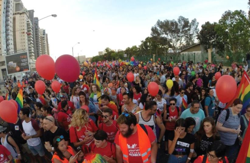 Hundreds march in the first Beersheba Gay Parade on June 22 (photo credit: YUVAL GIL)