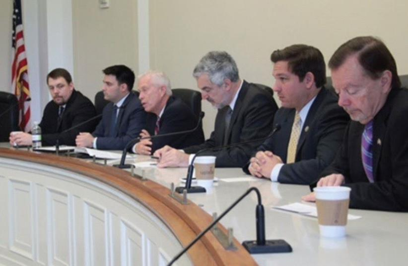 MEF President Professor Daniel Pipes (third from right) and MEF Director Gregg Roman (left), Rep. Ron DeSantis (second from right) and Rep. Bill Johnson (third from left) participate in the Congressional Israel Victory Caucus in April (photo credit: ISRAEL VICTORY FORUM)