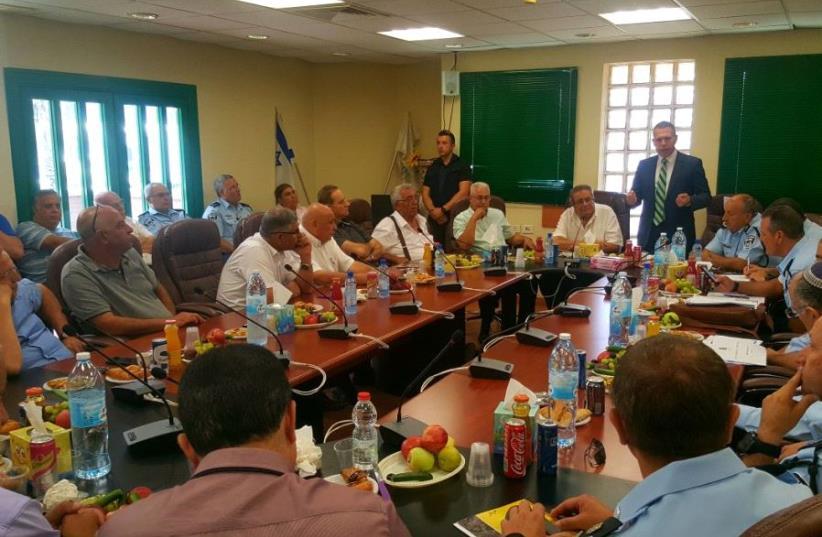 Gilad Erdan meeting with 20 mayors of Arab-Israeli communities to discuss policing  (photo credit: SPOKESMAN FOR MINISTER GILAD ERDAN)