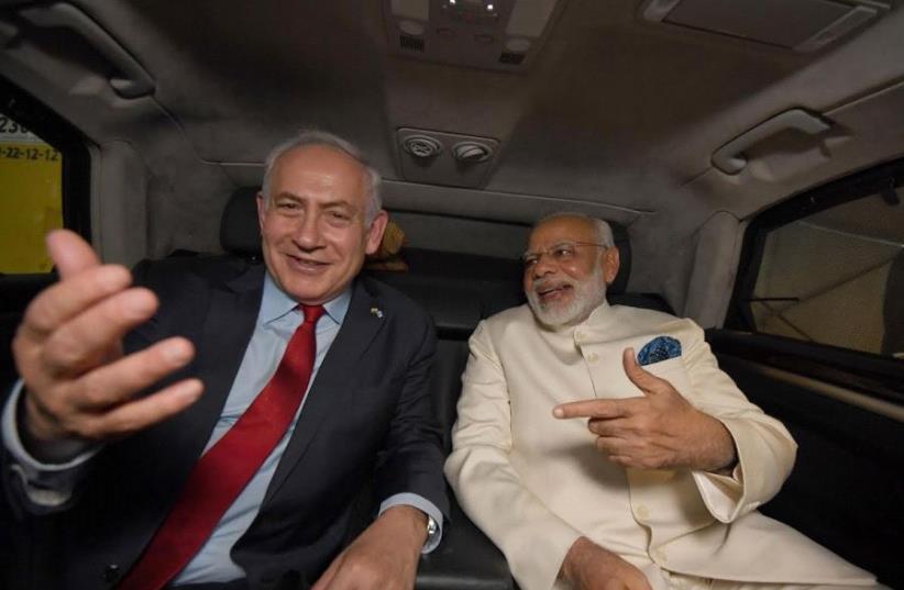 Indian Prime Minister Narendra Modi upon his arrival in Israel, July 4, 2017 (photo credit: HAIM ZACH/GPO)
